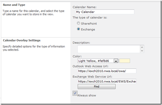 Group Calendars in SharePoint 2010: Part 2: With Exchange