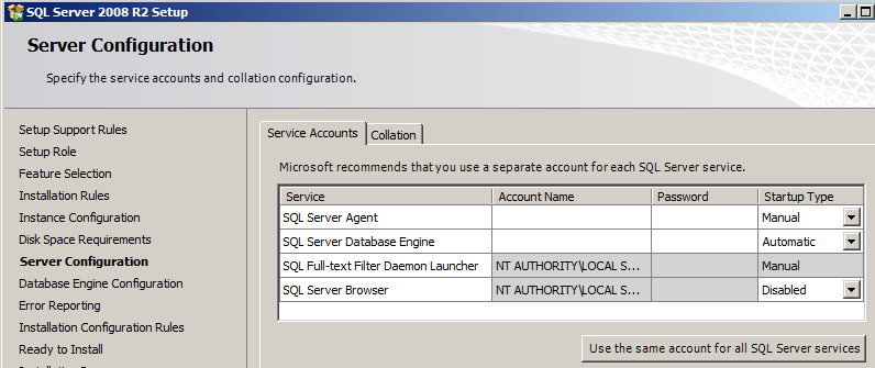 Example of Active Directory Service Account Naming Scheme For